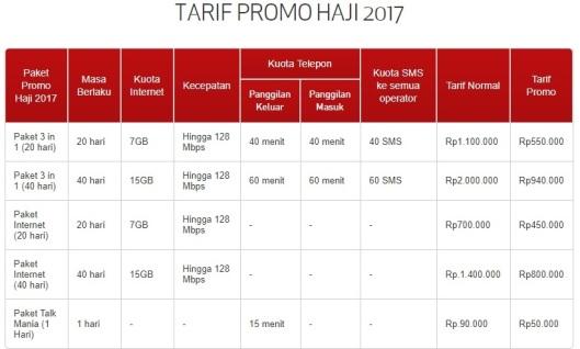 tarif haji tsel 2017