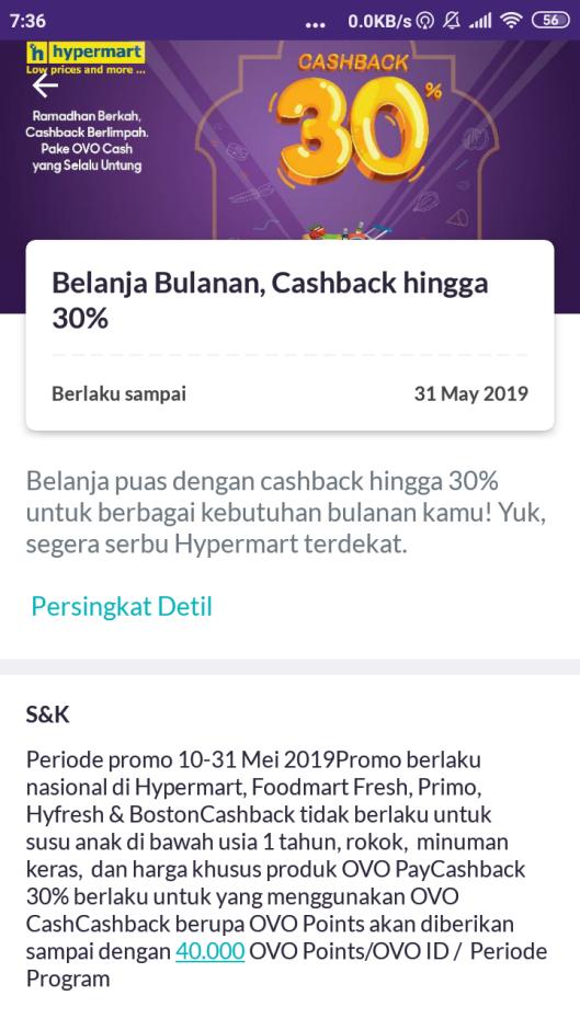 cashback 30% ovo