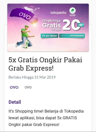 promo ovo tokopedia grab express