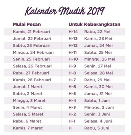 kalender mudik 2019