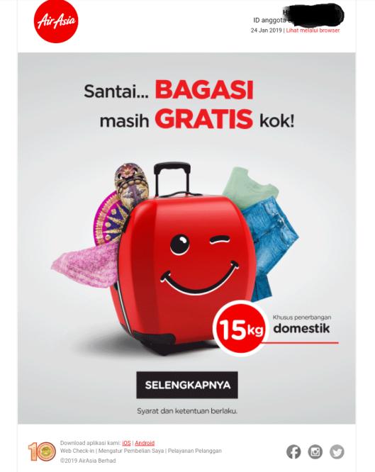 bagasi gratis air asia domestik 2019